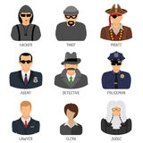 Set Characters of Criminals and Law Enforcers. Set Vector Characters of Criminals and Law Enforcers Flat Icons for Poster, Web Site, Advertising Like Thief Stock Photography