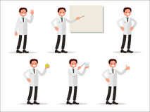 Set of characters dentist in various activities. Perfect for inf. Ormation posters in dental clinics Royalty Free Stock Photography