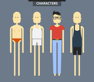 Set of characters in different clothes, flat style Royalty Free Stock Photo