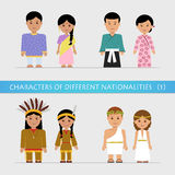 Set characters of different nationalities Stock Images