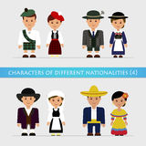 Set characters of different nationalities Royalty Free Stock Images