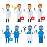 Set characters doctor and surgeon. Vector Illustration, Set characters doctor and surgeon, format EPS 8 Royalty Free Stock Photography
