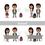 Set of characters elementary school students. Schoolboys and schoolgirls. Vector illustration of a flat design. Schoolboys and schoolgirls. Set of characters Royalty Free Stock Photos