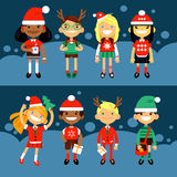 Set of characters elementary schoolchild. School students in Christmas costumes, the Fun characters in the New Year. Schoolboys and schoolgirls of different Stock Illustration