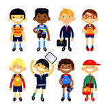 Set of characters elementary schoolchild, school students on a white background. Schoolboys different nationalities. Vector illustration flat design Stock Images