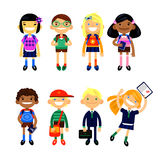 Set of characters elementary schoolchild, school students on a white background. Schoolboys and schoolgirls of different nationalities. Vector illustration of Vector Illustration