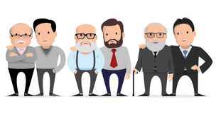 Elderly father and adult son together. Set of characters fathers and their adult children. Elderly father and adult son together. Vector illustration. flat vector illustration