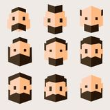 Set of characters in flat design. Men`s heads in geometric flat style. royalty free illustration