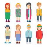 Set of characters in flat design. Men and women standing on white background. Cute geometric flat style. Vector illustration Royalty Free Illustration