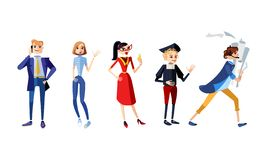 Set of characters full body. Male and female characters of different professions. Businessman, freelancer, businessoman, scholar, stock illustration