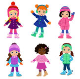 Set of characters funny girls in winter clothes. Vector illustration  on white background Stock Photography