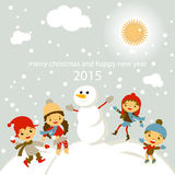 Set of characters funny kids  winter snow vector Royalty Free Stock Photography