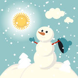 Set of characters funny kids  winter snow vector Stock Photography