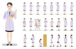 Set of characters girls doctor on a white background. vector illustration