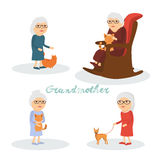Set of characters grandmother with  cat,  dog . Stock Images