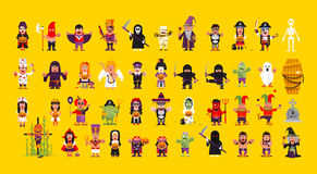 Set of characters for Halloween in a flat style Stock Images