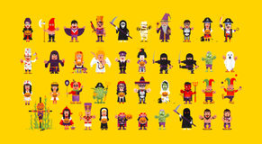 Set of characters for Halloween in a flat style Royalty Free Stock Photo