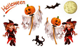 Set of characters for Halloween on white. Set of characters for registration of Halloween. Separately on white. An inscription, the cat, a ghost dances with the Royalty Free Stock Images