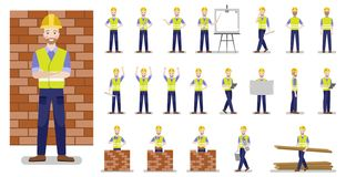 Set of characters happy builder in various poses on a white background. royalty free illustration