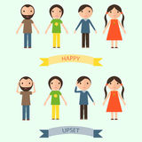 Set of characters with happy and upset emotions Stock Photography