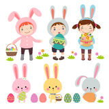 Set of characters and icons on the Easter theme Royalty Free Stock Photos