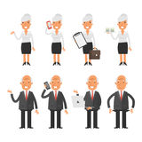 Set characters old business woman businessman Royalty Free Stock Photos