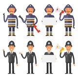 Set characters policeman and firefighter. Vector Illustration, Set characters policeman and firefighter, format EPS 8 Royalty Free Stock Images
