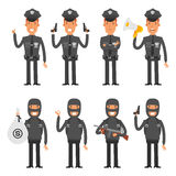 Set characters policeman and offender Stock Images