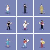 Set of Characters Popular Professions. Characters set popular professions. Stewardess and doctor, artist and fireman, waiter and policeman, cook and businessman Royalty Free Stock Images