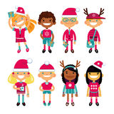 Set of characters schoolchild in Christmas costumes, the Fun in the New Year. Schoolboys and schoolgirls different. Nationalities. Vector illustration of a flat royalty free illustration