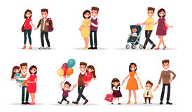 Set of characters showing the stages of development of the famil Royalty Free Stock Image