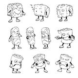 A set of characters sushi. Sketch. Vector isolated image. Royalty Free Stock Images