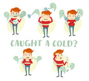 A set of characters with the symptoms of the common cold: cough, Royalty Free Stock Image