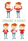 A set of characters with the symptoms of the common cold: cough, Stock Photography