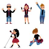 Set of characters of teenagers who play and sing rock music. Collection of teen boys and girls on music concert. Isolated on white background. Cartoon Stock Image