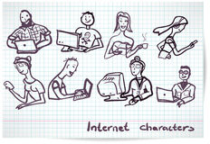 Set of characters on the theme of Internet technology and device Stock Images