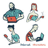 Set of characters on the theme of Internet technology and device Stock Photos