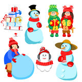 Set of characters for winter design Stock Photo