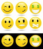 Set of characters of yellow emotions vector illustration