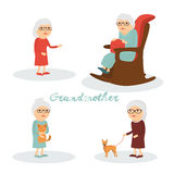 Set charakter babcia z kotem, pies Obrazy Stock