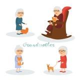 Set charakter babcia z kotem, pies Royalty Ilustracja