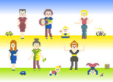 Set charakteru piksel Zdjęcia Stock