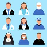 Set charakteru pracownika ikona Mężczyzna i kobiety etykietka Kreskówka styl Zdjęcie Stock
