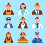 Set charakteru pracownika ikona Mężczyzna i kobiety etykietka Kreskówka styl Zdjęcie Royalty Free