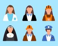 Set charakteru pracownika ikona Mężczyzna i kobiety etykietka Kreskówka styl Obraz Royalty Free