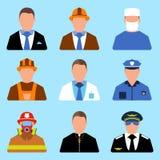 Set charakteru pracownika ikona Mężczyzna i kobiety etykietka Kreskówka styl Obraz Stock