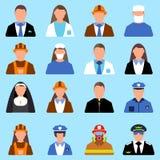 Set charakteru pracownika ikona Mężczyzna i kobiety etykietka Kreskówka styl Fotografia Royalty Free