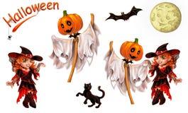 Set charaktery dla Halloween na bielu Obrazy Royalty Free