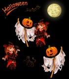 Set charaktery dla Halloween na czerni Zdjęcie Royalty Free
