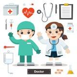 Set charaktery lekarka z sprzętem medycznym royalty ilustracja